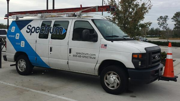 A Spectrum Internet van is pictured.