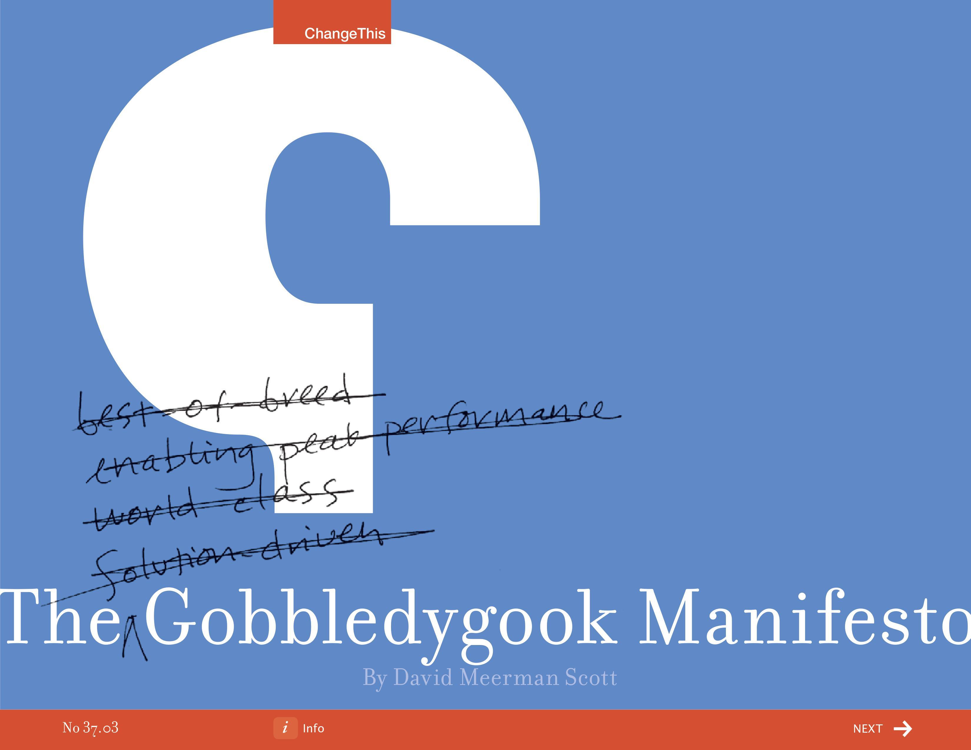 The Gobbledygook Manifesto