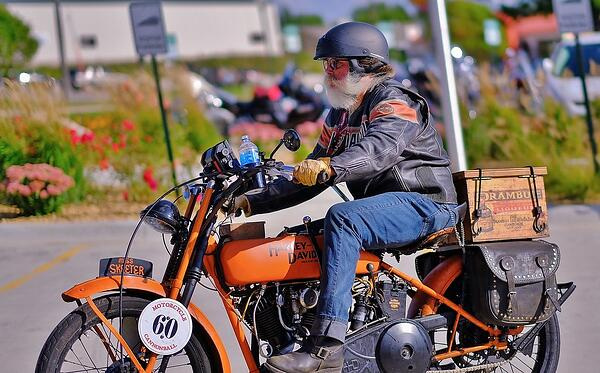A rider pictured on a Harley-Davidson bike.