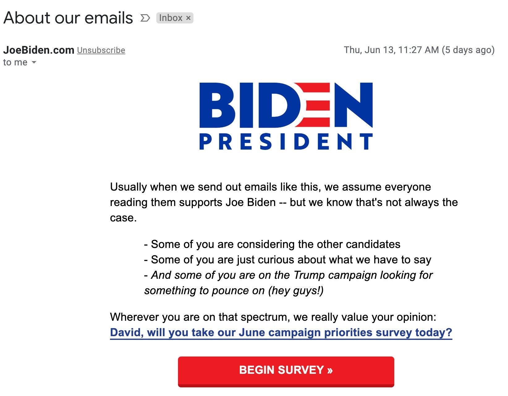 Joe Biden email