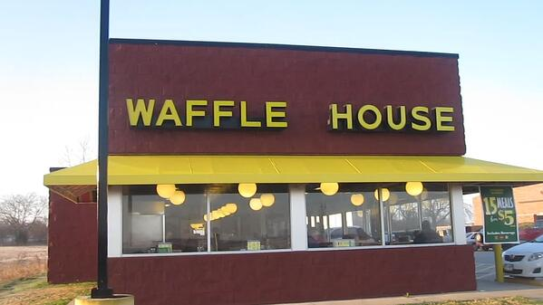 A Waffle House restaurant is pictured.