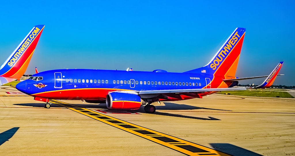 A Southwest airplane is pictured.
